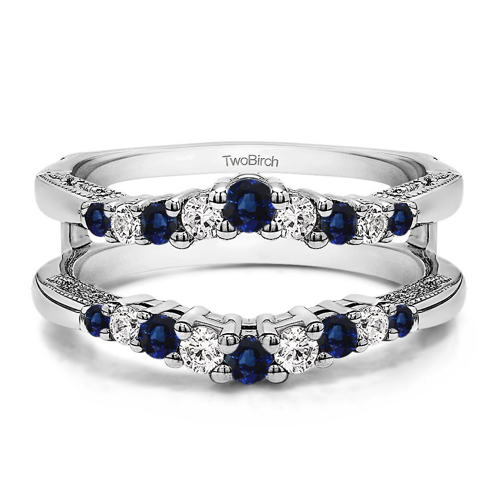 Silver Vintage Ring Guard with Milgraining and Filigree Designs with Diamonds and Sapphire (0.73 ct. twt.)