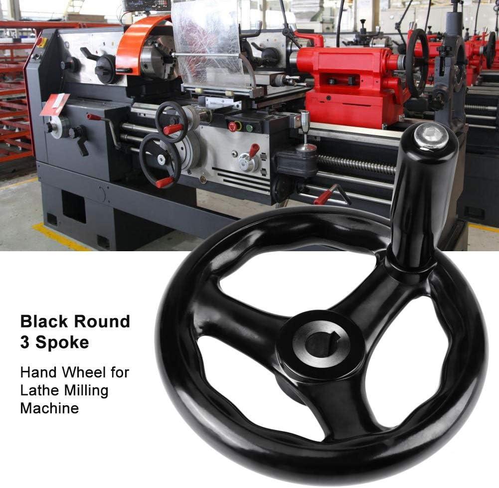 1 rueda de mano de 3 radios redonda negra de 12 125 mm para fresadora de torno Rueda de mano de fresado