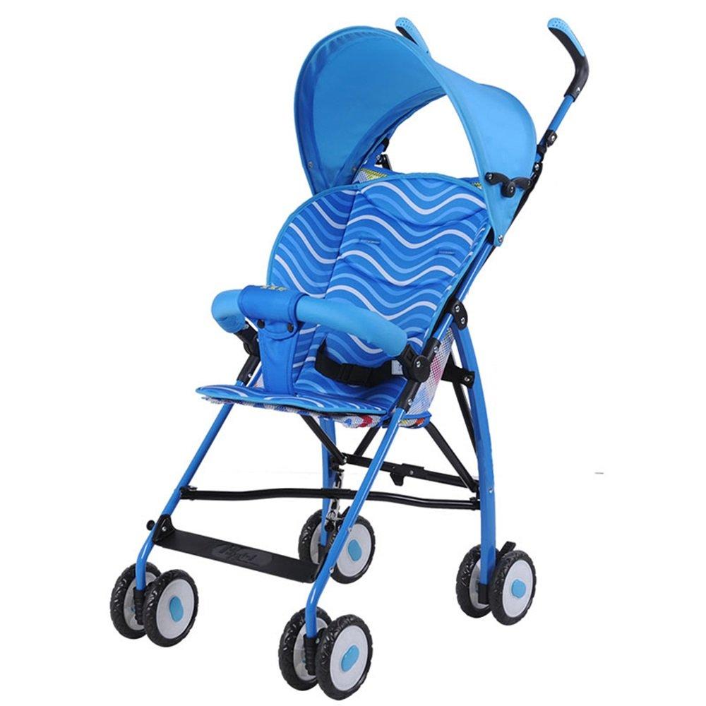 取り外し可能で折り畳み式のコットンパッド、子供用トロリー超軽量ポータブルベビーカー傘旅行ベビーベビーカー (色 : 青)  青 B07G7TRCW4