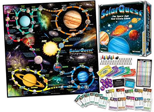 SolarQuest The Space-Age Real Estate Game: Deluxe Edition - Space Adventure - Family, Children, Teens, Adults - Educational - Competitive - Object: to Monopolize The Planets of Our Solar System