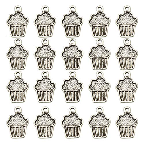 Monrocco 100 Pcs 16x11mm Antique Silver Tone Cupcake Charms Beads Pendant Bulk for Bracelets Necklace Jewelry ()