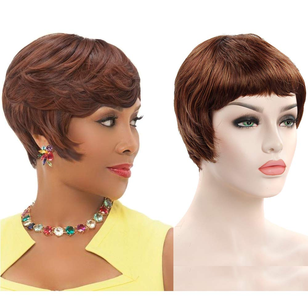 Short Brown Wigs Synthetic Hair Women Wig with Bang 1 Piece Free Wig Cap (16-33#)