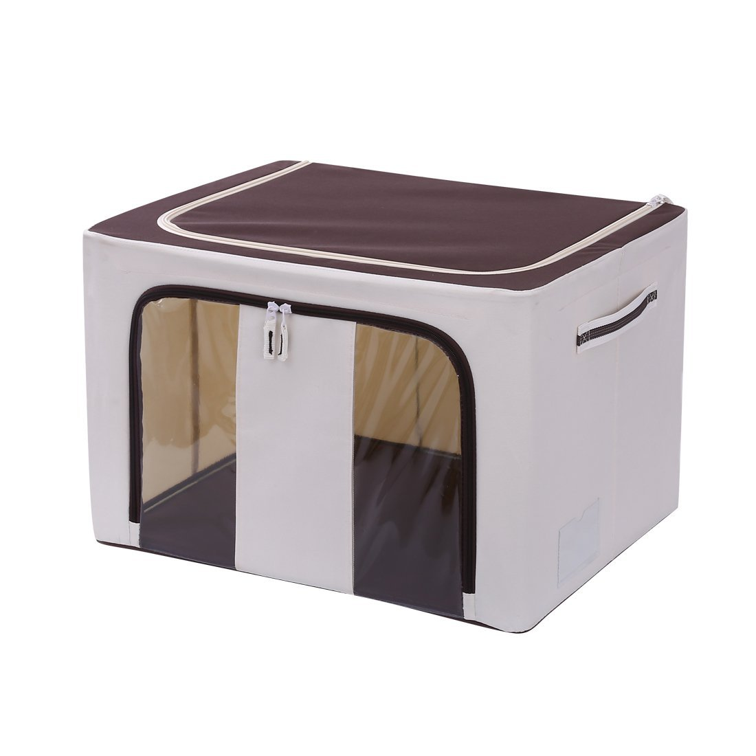 FUMOMEK Storage Bin Box with Lid & Dual Handles Foldable Cloth Organizer with Window & Label Holder for Home Closet Office