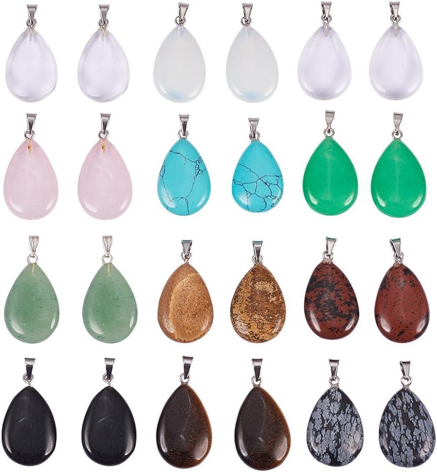 PandaHall 24 unids lágrima Forma de Gota de Agua Perlas de Encanto de Chakra curativo Piedra de Cuarzo de Cristal Colgantes de Piedras Preciosas Dyded para Fabricación de Joyas Total 12 Colores