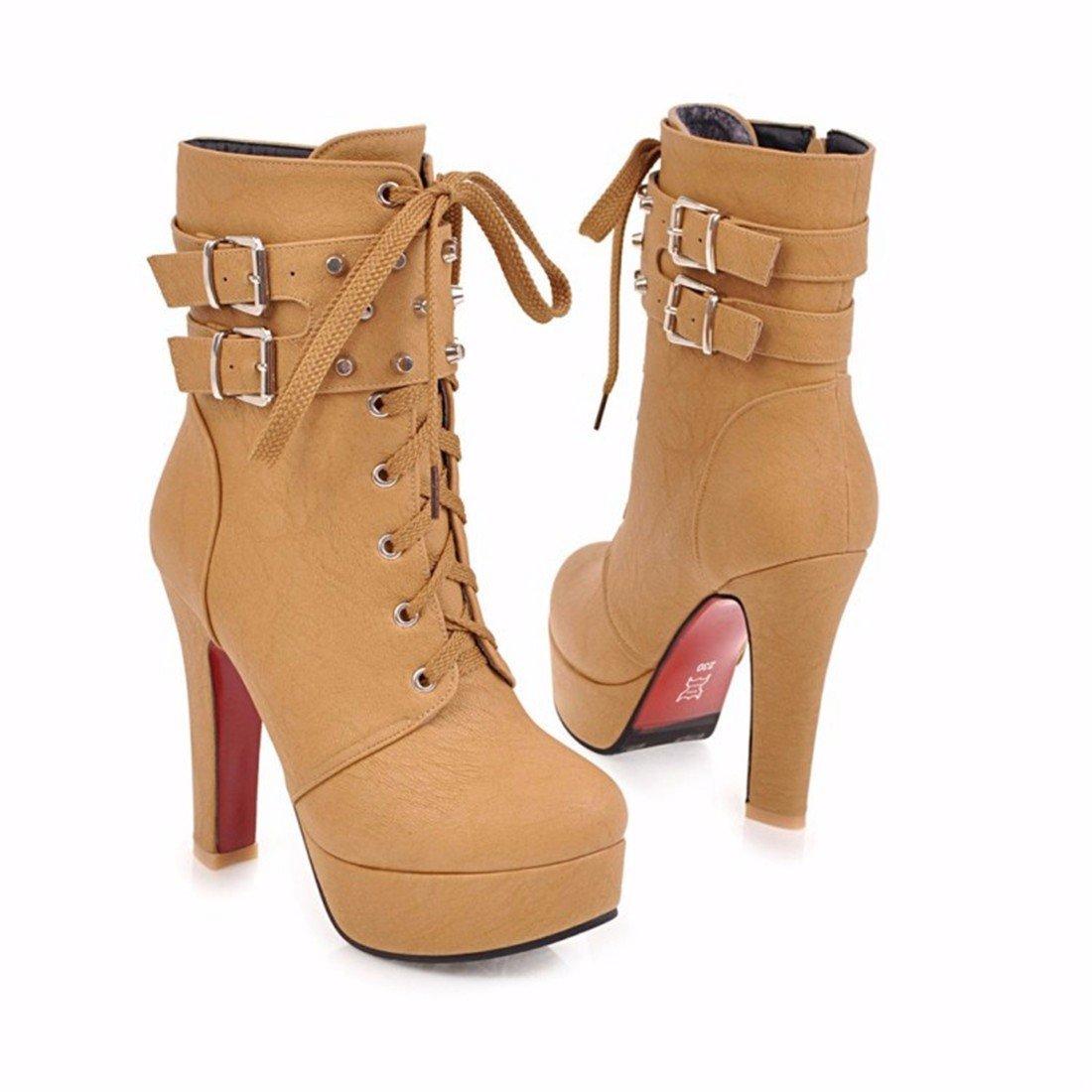 Winter und Winter Damen Gürtelschnalle, Motorrad Stiefel, groß Schuhe Schuhe groß mit hohen Absätzen kurz Stiefel yellow c43368