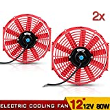 12'' High Performance Electric Cooling Fan Push Pull Electric Radiator Slim Fan 12V 80W 1730CFM with Mounting Kit(Diameter 12'' Depth 2.56'')