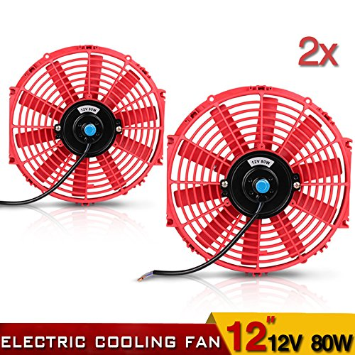 12' High Performance Electric Cooling Fan Push Pull Electric Radiator Slim Fan 12V 80W 1730CFM with...