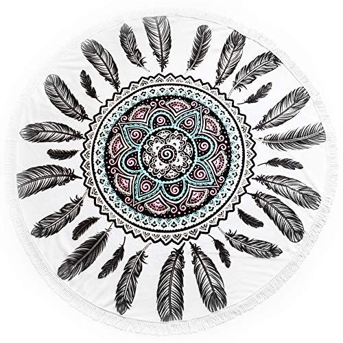SIANA Bohemian Round Beach Towel Dream Catcher Theme Boho Circle Towel for Women Mandala Indian Hippie Tapestry Gorgeous Colors Premium Quality Fabrics Comfortable & Elegant Design