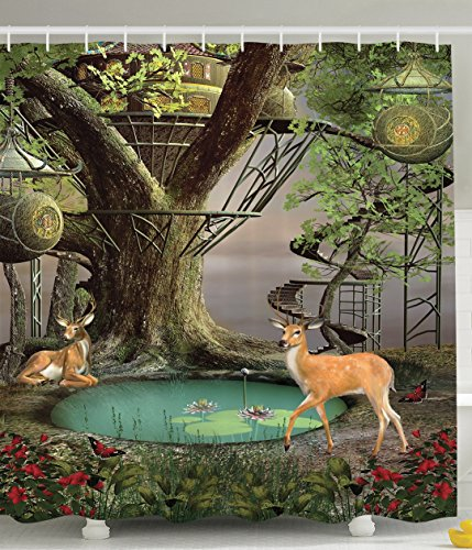 Deer Decor Woods Tree House Natural Landscape Greenery Art Wild Jungle Wildlife Enchanted Mystic Forest Fairy Design Home Decorations for Bathroom Shower Curtain Green Gray Turquoise Khaki Brown Red Christmas Tree Design Ideas