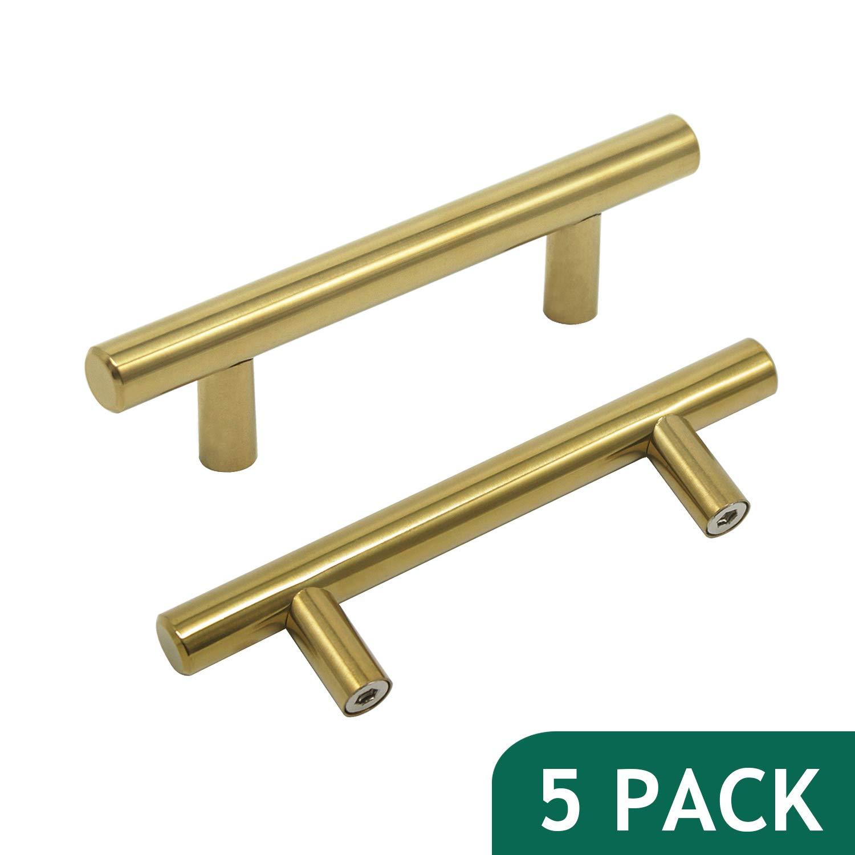 Probrico 3 hole centers brushed brass cabinet pulls euro bar cabinet hardware kitchen bathroom cabinet modern t bar knobs dresser pull gold drawer