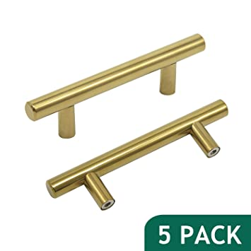 Probrico 3u0026quot; Hole Centers Brushed Brass Cabinet Pulls Euro Bar Cabinet  Hardware Kitchen Bathroom Cabinet