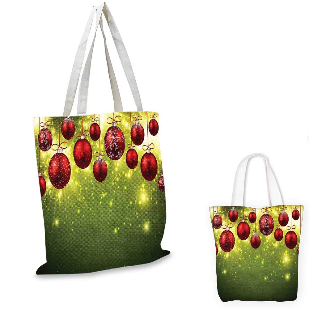 16x18-13 Christmas canvas messenger bag Traditional Garland Designs with Flowers Socks and Bells Mistletoe Candy canvas beach bag Orange Red Green