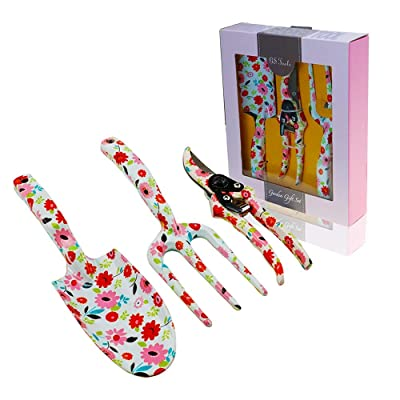 GS Tools 3 Piece Aluminum Garden Tool Set with Floral Print, Gardening Tool Kit - Hand Trowel, Fork, Pruning Shear Best Gift for Women and Children : Garden & Outdoor