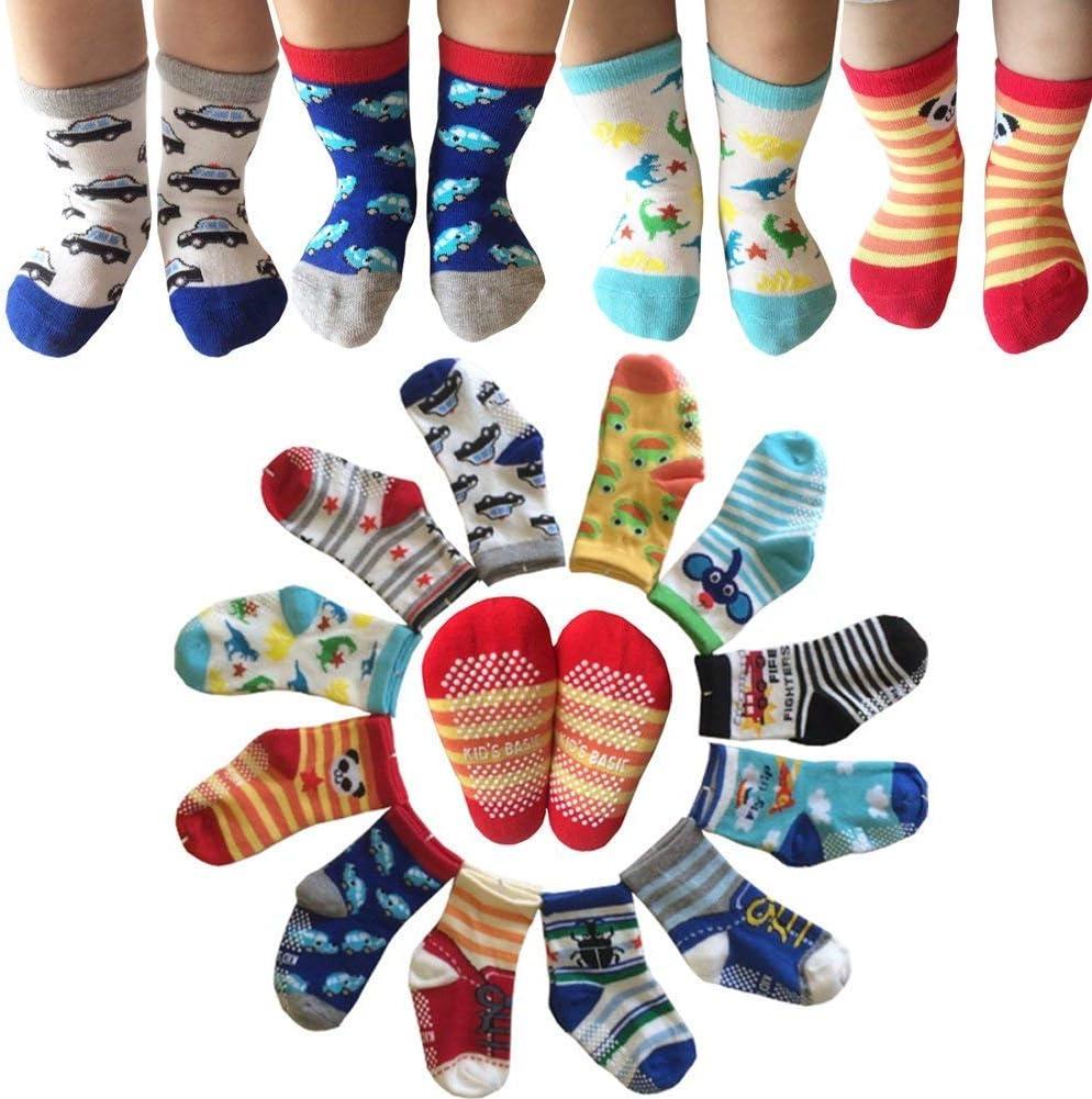 6 Pairs Toddler Non Skid Anti Slip Crew Socks with Grips for Baby Boys Ankle Walker Cartoon Footsocks Sneakers Socks