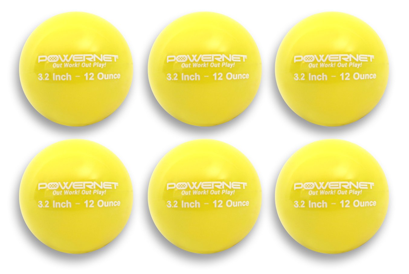 PowerNet 3.2'' Weighted Hitting Batting Training Balls (6 Pack) | 12 oz Yellow | Build Strength and Muscle | Improve Technique and Form | Softball Size | Enhance Hand-Eye Coordination by PowerNet