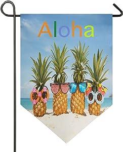 Oarencol Aloha Summer Pineapples Sea Sunglasses Garden Flag Hawaii Ocean Beach Double Sided Home Yard Decor Banner Outdoor 12.5 x 18 Inch