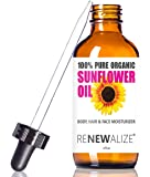 ORGANIC SUNFLOWER SEED OIL FACE MOISTURIZER - 4oz size | All Natural Cold Pressed 100 Pure - High Linoleic | Best for Acne Prone Oily Skin and Face | Daily or Nighttime Facial Regimen for Men & Women