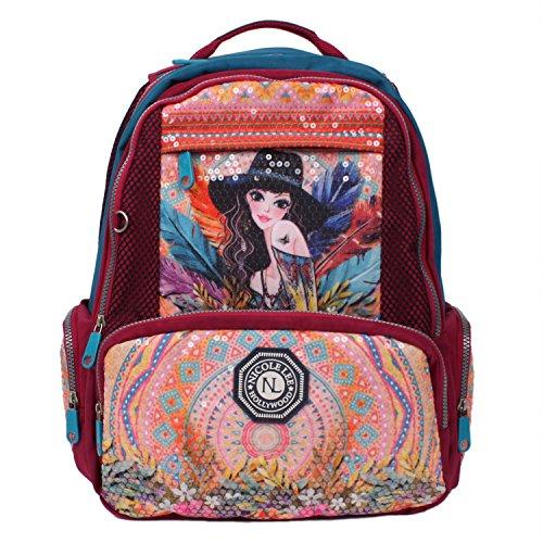 nicole lee Hailee Sandra Goes Bohemian Sequined Wrinkle Resistent Crinkled Nylon Laptop Backpack (Laptop Backpack Nicole Lee)