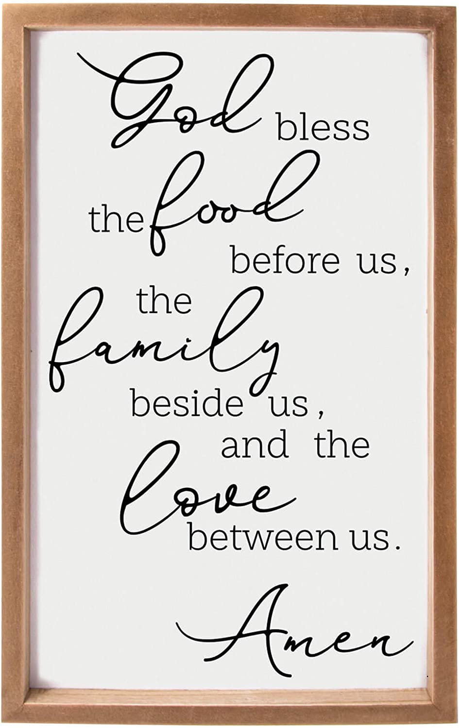 VILIGHT Framed Farmhouse Family Wall Decor for Dining Room and Kitchen - Rustic Wood Sign with Quotes Bless The Food Before Us - Vertical 16x9.5 Inches