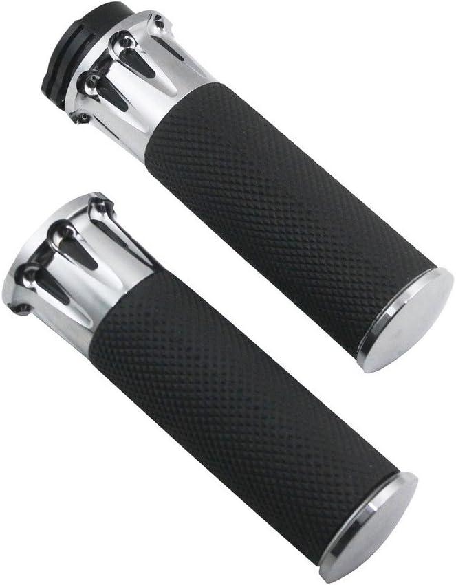Rebacker 1 25mm Black Aluminum CNC Handle Bar Hand Grips For Harley Touring Dyna Softail Custom Sportster 883 1200 XL-Black