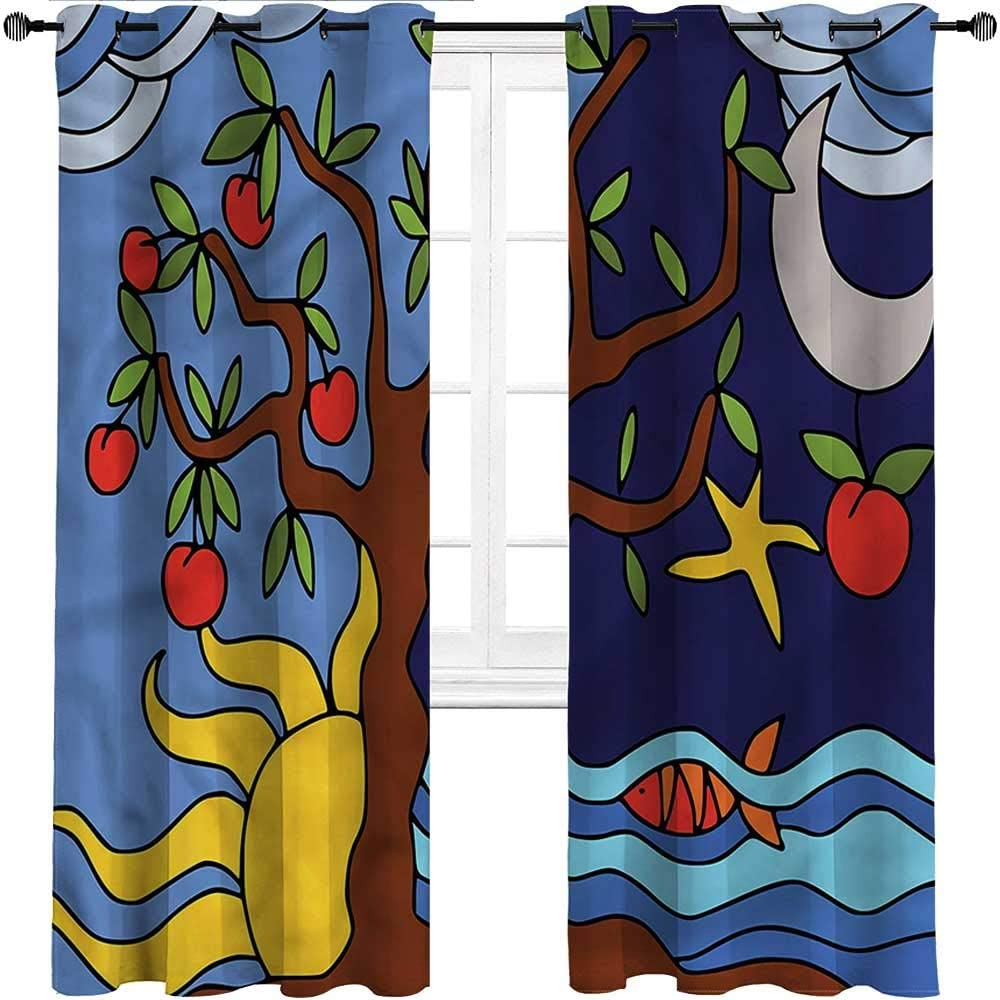 Outdoor Curtains for Patio Waterproof, Tree of Life Grommet Thermal Insulated Room Darkening Drapes, Starry Night and Day Set of 2 Panels, 84 Width x 84 Length
