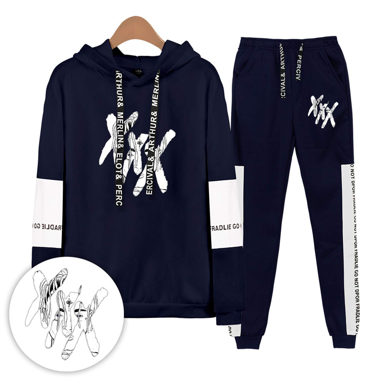 Xxxtentacion Hoodies Sweatshirts and Sweatpants Men Two Piece Set Hooded Suit Black XL