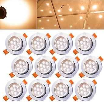 Hengda® 12X 7W LED Downlight Focos Regulable con Giratorio Proyector Empotrable de 30 Grados para