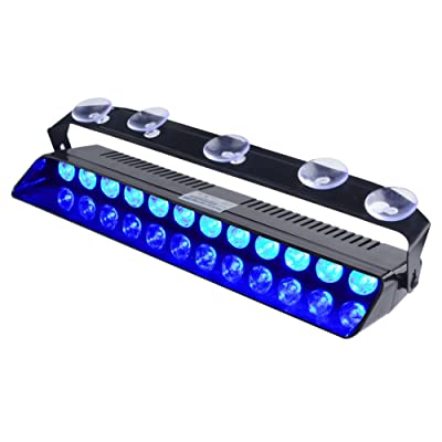 WOWTOU Emergency Blue Light, 16 Flashing Modes 12W Bright LED Strobe Lighting for Volunteer Firefighter Vehicle Dash Deck Windshield: Automotive