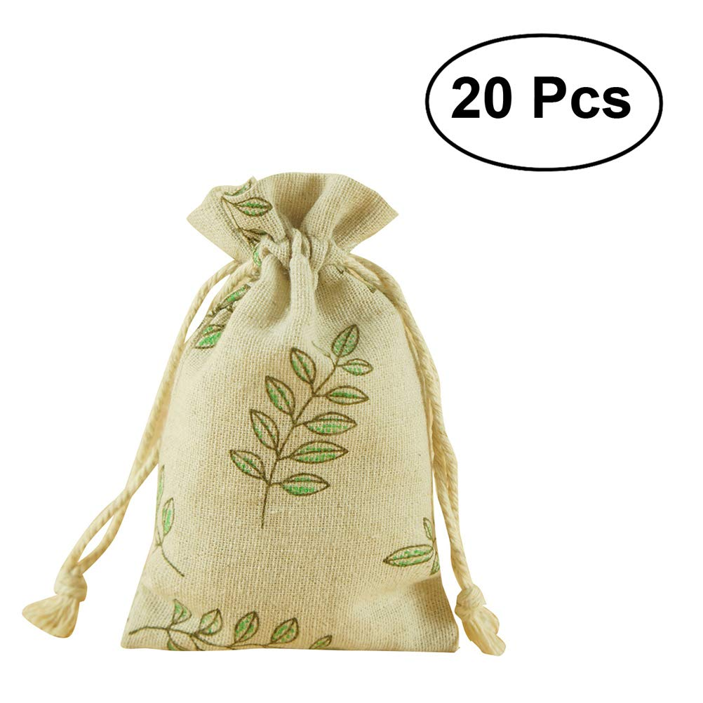 BESTOMZ 20pcs drawstring Bags, Machine Washable gift bags, Natural Linen Pouches Gift Packaging, Perfect Wedding Other Giveaways