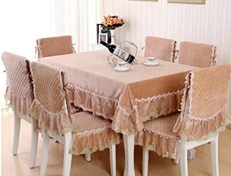 GYMNLJY Table Cloth Pure Cotton Simple Lace Non Slip Tablecloth 130180cm ,  Yellow , 130180