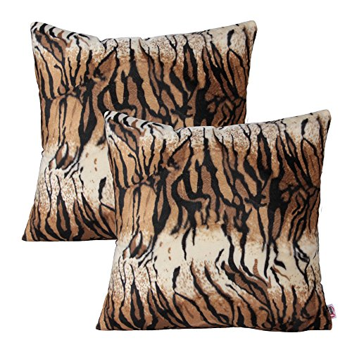 Queenie® - 2 Pcs Faux Fur Throw Pillow Covers Cushion Cover for Sofa Pillow Case Available in 5 Colors and 6 Different Sizes (22 x 22 inch (55 x 55 cm), African Tiger) ()