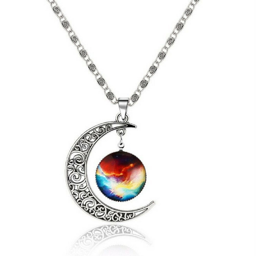 Galaxy & Crescent Cosmic Moon Pendant Necklace, Colorful Glass, 17.5'' Chain, Great Gift for Women 17.5'' Chain Luvalti Luvalti-75