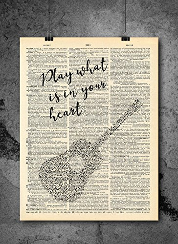 Play What is In Your Heart Guitar Quote - Vintage Dictionary Print 8x10 inch Home Vintage Art Abstract Prints Wall Art for Home Decor Wall Decorations Ready-to-Frame