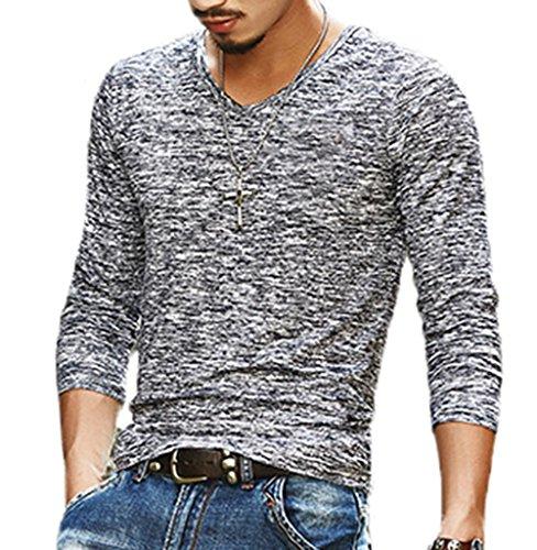 9ce388b717c Men s Slim Fit V-Neck Long Sleeve T-Shirt Casual Tees Tops (US-M ...