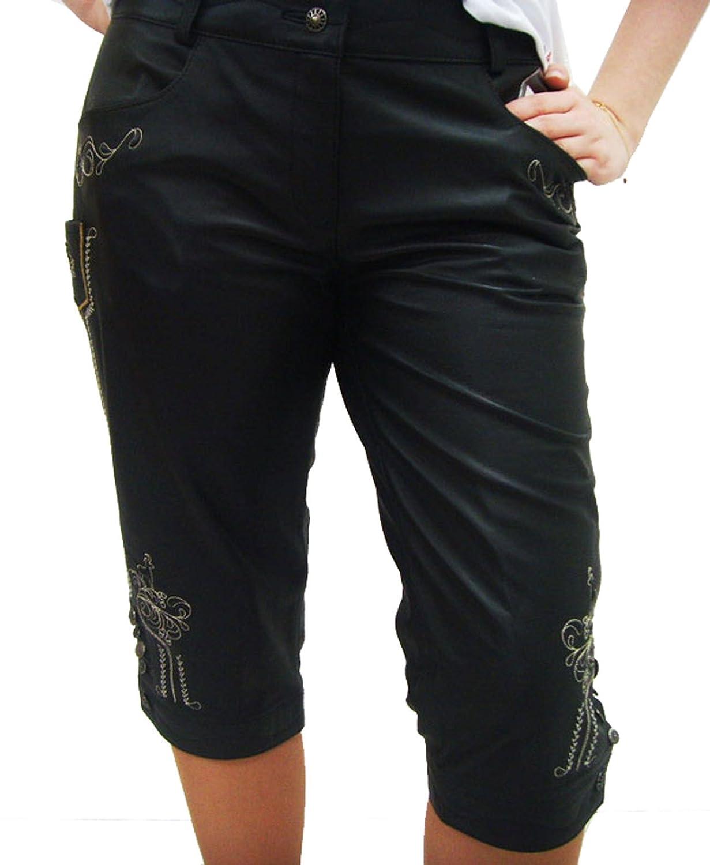 Freche schwarze Damen Lederhose Ratzfatz Kniebundlederhose aus Nappaleder mit trendigen beigen Applikationen