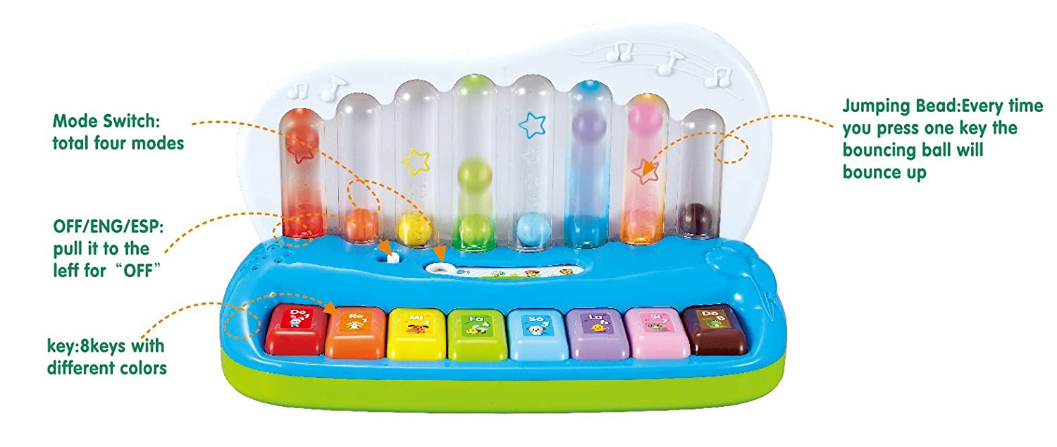 Liberty Imports Baby Electronic Pop Play Learning Switch Bounce Produced On Press Musical Piano Bilingual Music Keyboard Toys Games