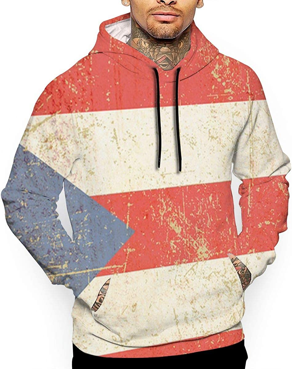 Puerto Rican Flag T-Shirt Hooded with A Pocket Rope Hat Customization Fashion Novelty 3D Mens