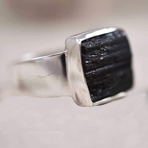 raw black tourmaline Ring gift for ring,KR-122 tourmaline gemstone Ring boho ring Black tourmaline Ring US size-7 Sterling Silver ring