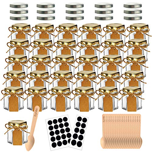 Syntic 31 Pcs 1.5 oz Hexagon Jars/Glass Jars with Gold Lids, Small Mason Jars for Wedding, Party Favors, Extra 15 Silver Lids, Chalkboard Labels, Tag Strings, 31 Disposable Wooden Spoons Included ()