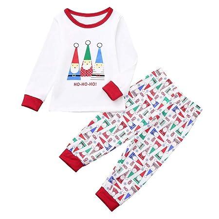 uBabamama Family Christmas Pajamas Set Mum Dad Little Team Cartoon Santa  Letter Print Top+Pants 14b176e9b