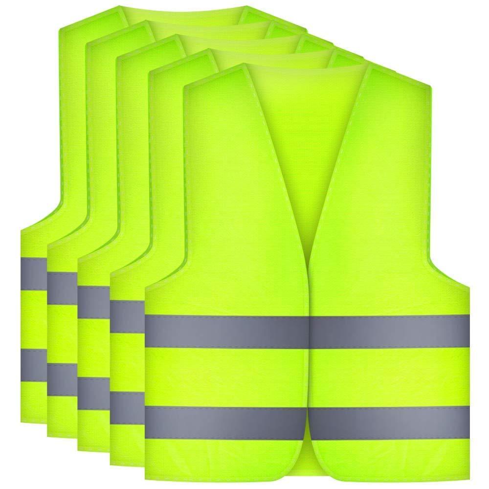 Etmury - Gilet di Sicurezza ad Alta visibilità , Lavabile, a 360° , per la Sicurezza degli automobilisti, dei conducenti e dei Lavoratori, ad Alto Rischio, 5 Pezzi, Colore: Giallo a 360°