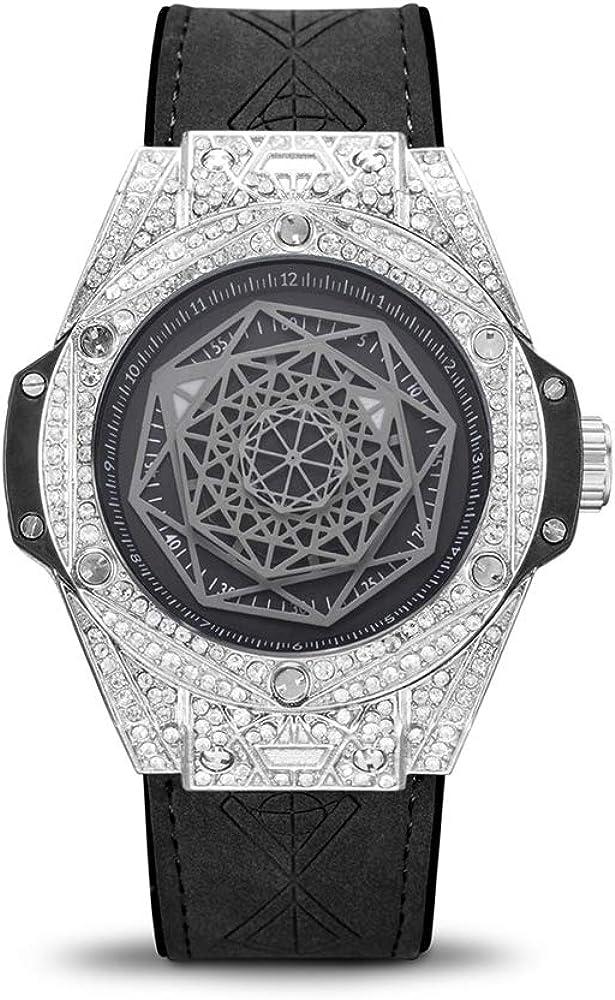 Relojes de Diamantes Llenos de Diamantes para Hombre con Correa de Jalea Impermeables y Luminosos a Prueba de Agua