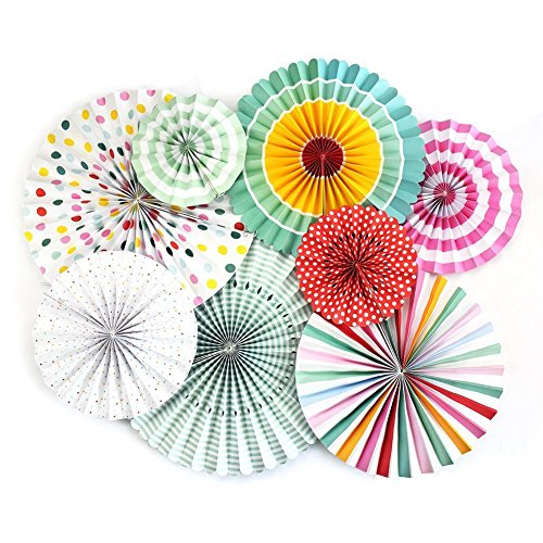Monkey Home A Variety Of Paper Fans Party Fans,8 Decorative Fans Colourful by Monkey Home (Image #6)