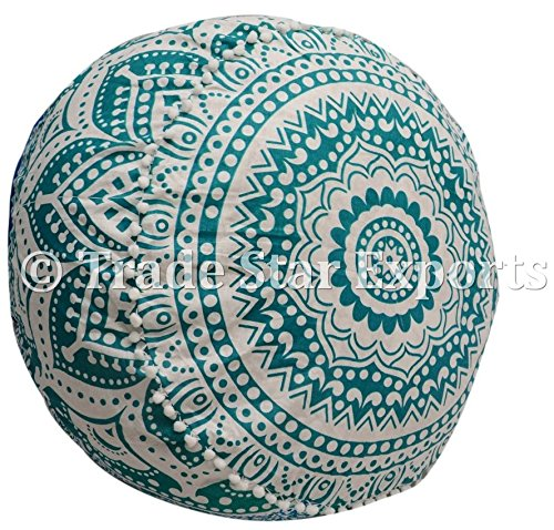 Trade Star Exports Indian Mandala Ottoman Pouf Cover, Decorative Footstool, Round Floor Pouf, Seating Pouf Ottoman Cover, Ethnic Pouf Cushions, Bohemian Decor Pouf (Pattern4) by Trade Star Exports