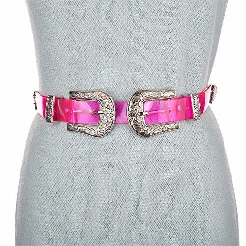 LONFENN President Simple Lap Style Transparent Plastic Resin Narrow Belt pin Buckle Leisure 裤 Color Wide Belt, red /2,60cm-85cm