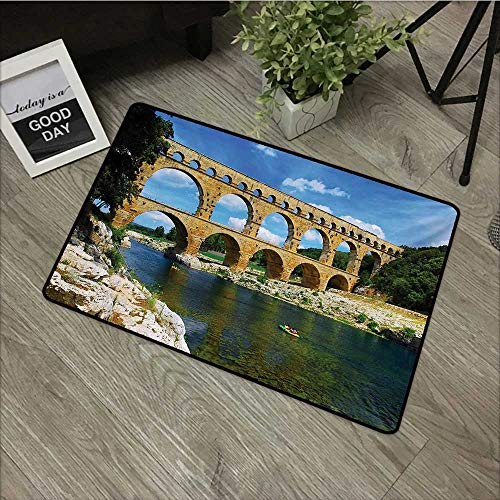 Bathroom anti-slip door mat W19 x L31 INCH Landscape,Ancient Roman Heritage Wall Southern France Architectural Historical Landmark,Blue Green Tan Natural dye printing to protect your baby's skin Non-s