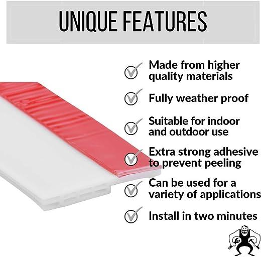 Soundproofing Bottom Weather Stripping Weatherproofing Seal Strip Under Door Draft Blocker Strongman Tools Door Draft Stopper Sweep for Exterior//Interior Doors Large 1 Meter 2 Thickness Brown