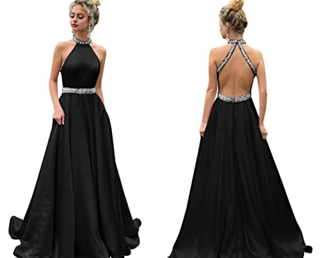 LeoGirl Womens Beaded High Neck Open Back Long Prom Dresses A-Line Elegant Formal Evening