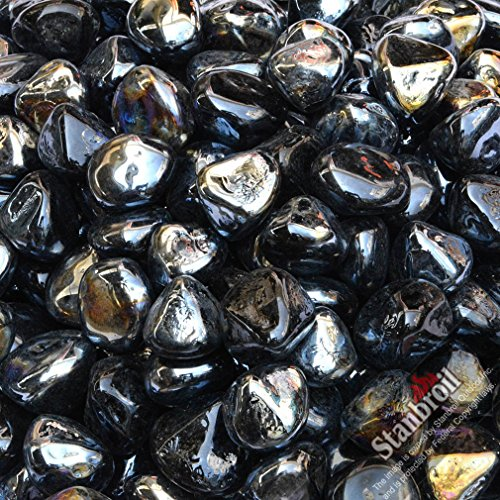 Stanbroil 10-Pound 1/2 Inch Fire Glass Diamonds for Fireplace Fire Pit, Onyx Black Luster