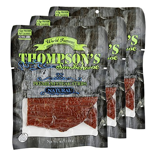 Thompson's Smokehouse Premium Steak Strips - Thick, All Natural, No Preservatives, Made from the Finest Ingredients, and Smoked to Perfection. 4oz/3pack Natural (Natural Premium Meat Snack)